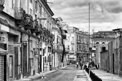 Cuba Fuerte Collection B&W - Street Scene in Havana Centro II-Philippe Hugonnard-Photographic Print