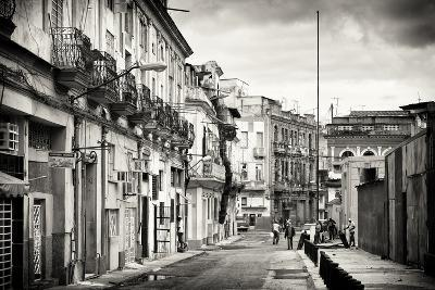 Cuba Fuerte Collection B&W - Street Scene in Havana Centro-Philippe Hugonnard-Photographic Print