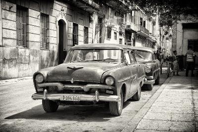 Cuba Fuerte Collection B&W - Street Scene with old Cars-Philippe Hugonnard-Photographic Print