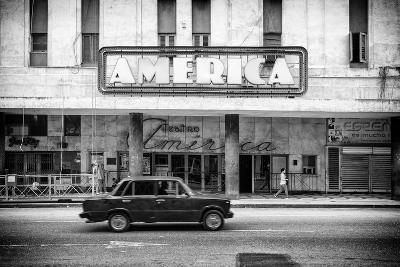 Cuba Fuerte Collection B&W - Teatro America - Havana-Philippe Hugonnard-Photographic Print