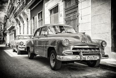 Cuba Fuerte Collection B&W - Vintage Classic American Cars-Philippe Hugonnard-Photographic Print
