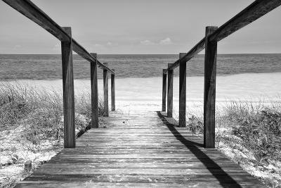 Cuba Fuerte Collection B&W - Wooden Pier on Tropical Beach II-Philippe Hugonnard-Photographic Print