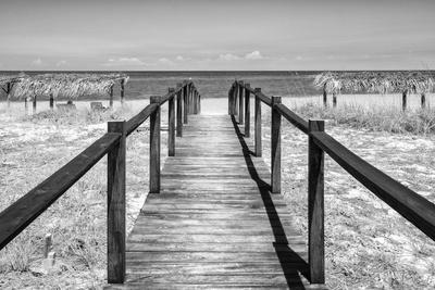Cuba Fuerte Collection B&W - Wooden Pier on Tropical Beach IV-Philippe Hugonnard-Photographic Print