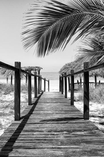 Cuba Fuerte Collection B&W - Wooden Pier on Tropical Beach IX-Philippe Hugonnard-Photographic Print