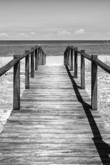 Cuba Fuerte Collection B&W - Wooden Pier on Tropical Beach V-Philippe Hugonnard-Photographic Print