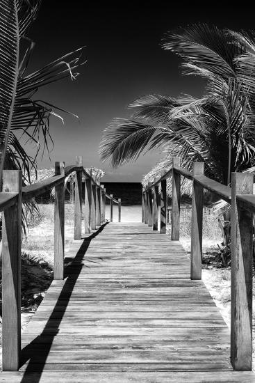 Cuba Fuerte Collection B&W - Wooden Pier on Tropical Beach VII-Philippe Hugonnard-Photographic Print