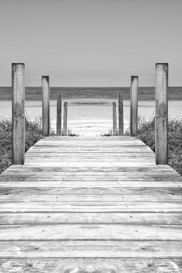 Cuba Fuerte Collection B&W - Wooden Pier on Tropical Beach X-Philippe Hugonnard-Photographic Print