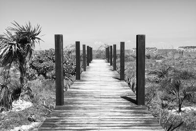 Cuba Fuerte Collection B&W - Wooden Pier on Tropical Beach-Philippe Hugonnard-Photographic Print