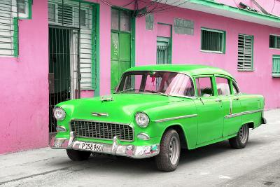 Cuba Fuerte Collection - Beautiful Classic American Green Car-Philippe Hugonnard-Photographic Print