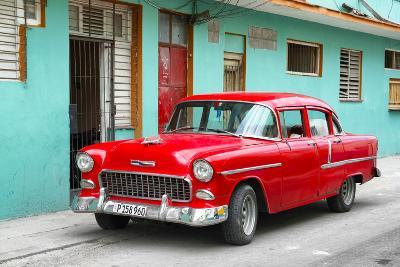 Cuba Fuerte Collection - Beautiful Classic American Red Car-Philippe Hugonnard-Photographic Print