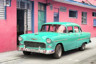 Cuba Fuerte Collection - Beautiful Classic American Turquoise Car-Philippe Hugonnard-Photographic Print