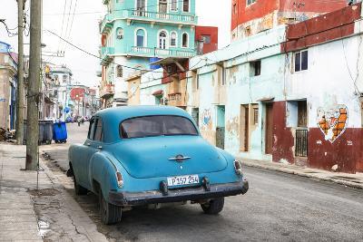 Cuba Fuerte Collection - Blue Classic Car in Havana-Philippe Hugonnard-Photographic Print