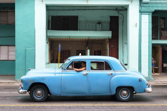 Cuba Fuerte Collection - Blue Taxi Car-Philippe Hugonnard-Photographic Print
