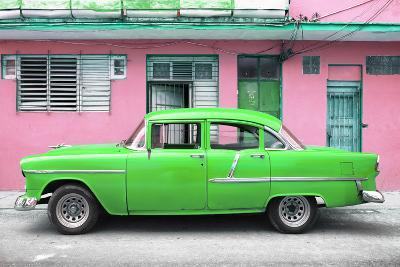 Cuba Fuerte Collection - Classic American Green Car in Havana-Philippe Hugonnard-Photographic Print