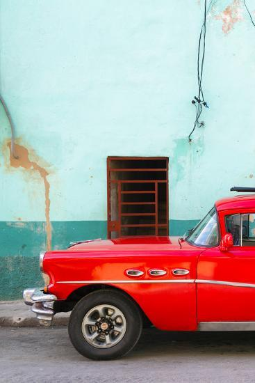 Cuba Fuerte Collection - Classic American Red Car-Philippe Hugonnard-Photographic Print