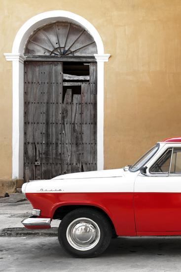 Cuba Fuerte Collection - Close-up of American Classic Car White and Red-Philippe Hugonnard-Photographic Print