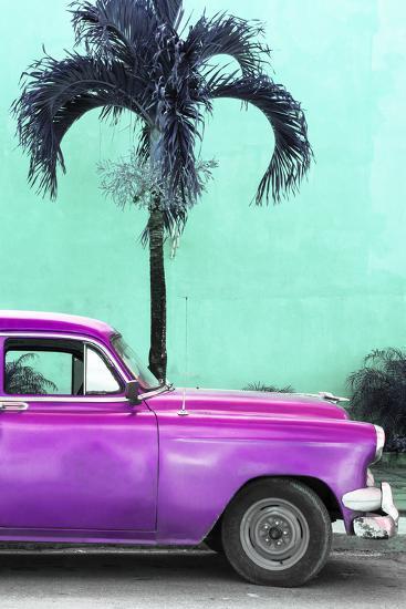 Cuba Fuerte Collection - Close-up of Beautiful Retro Purple Car-Philippe Hugonnard-Photographic Print