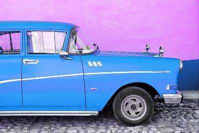 Cuba Fuerte Collection - Close-up of Retro Blue Car-Philippe Hugonnard-Photographic Print