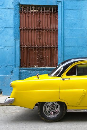 Cuba Fuerte Collection - Close-up of Yellow Taxi of Havana-Philippe Hugonnard-Photographic Print