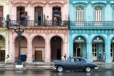 Cuba Fuerte Collection - Colorful Architecture and Black Classic Car-Philippe Hugonnard-Photographic Print