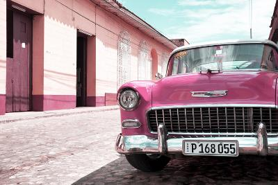 Cuba Fuerte Collection - Cuban Pink Car in the Street-Philippe Hugonnard-Photographic Print