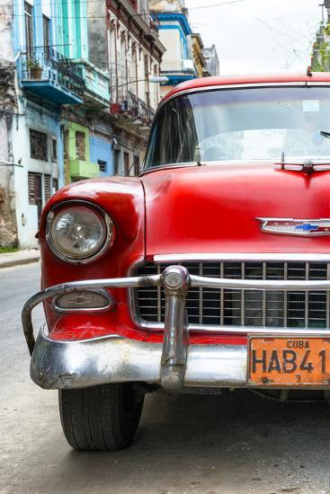 Cuba Fuerte Collection - Detail on Red Classic Chevy-Philippe Hugonnard-Photographic Print