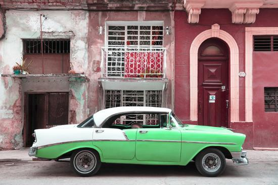Cuba Fuerte Collection - Green Classic Car in Havana-Philippe Hugonnard-Photographic Print