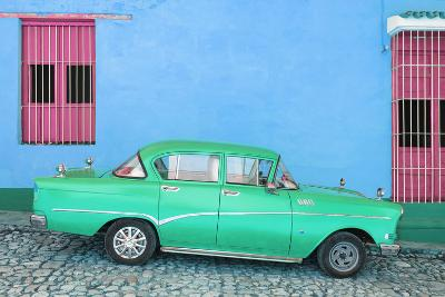 Cuba Fuerte Collection - Green Classic Car in Trinidad-Philippe Hugonnard-Photographic Print