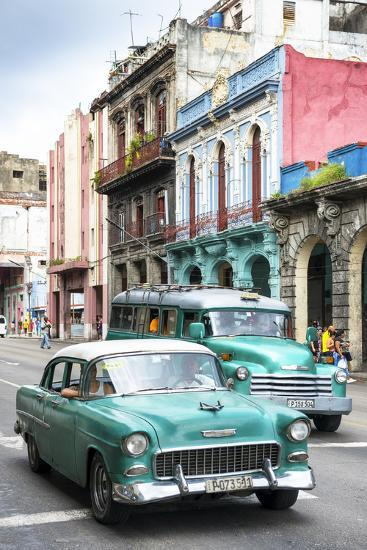 Cuba Fuerte Collection - Green Taxi Cars-Philippe Hugonnard-Photographic Print