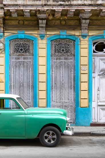 Cuba Fuerte Collection - Green Vintage Car in Havana II-Philippe Hugonnard-Photographic Print