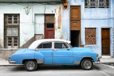 Cuba Fuerte Collection - Havana's Blue Vintage Car-Philippe Hugonnard-Photographic Print