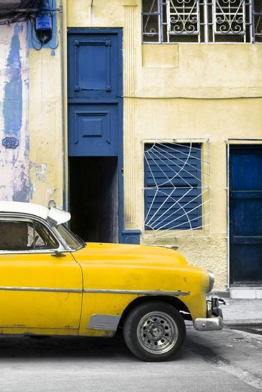 Cuba Fuerte Collection - Havana's Yellow Vintage Car II-Philippe Hugonnard-Photographic Print