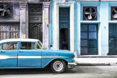Cuba Fuerte Collection - Old Classic American Blue Car-Philippe Hugonnard-Photographic Print