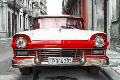 Cuba Fuerte Collection - Old Ford Red Car-Philippe Hugonnard-Photographic Print