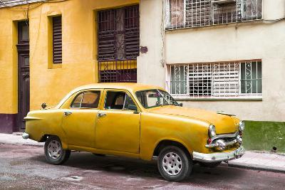 Cuba Fuerte Collection - Old Orange Car in the Streets of Havana-Philippe Hugonnard-Photographic Print
