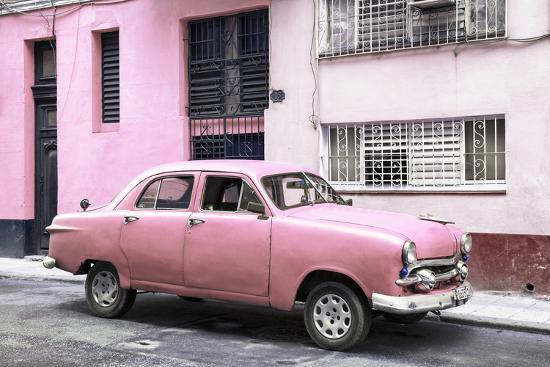 Cuba Fuerte Collection - Old Pink Car in the Streets of Havana-Philippe Hugonnard-Photographic Print