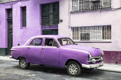 Cuba Fuerte Collection - Old Purple Car in the Streets of Havana-Philippe Hugonnard-Photographic Print