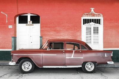 Cuba Fuerte Collection - Old Red Car-Philippe Hugonnard-Photographic Print
