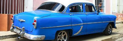 Cuba Fuerte Collection Panoramic - American Classic Blue Car-Philippe Hugonnard-Photographic Print
