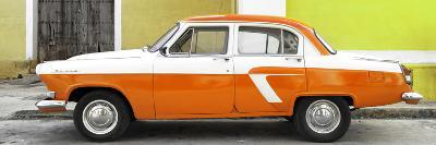 Cuba Fuerte Collection Panoramic - American Classic Car White and Orange-Philippe Hugonnard-Photographic Print