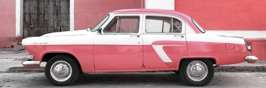 Cuba Fuerte Collection Panoramic - American Classic Car White and Pink-Philippe Hugonnard-Photographic Print
