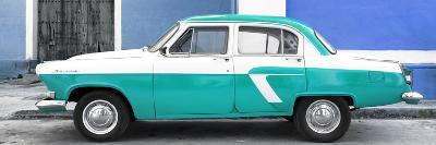 Cuba Fuerte Collection Panoramic - American Classic Car White and Turquoise-Philippe Hugonnard-Photographic Print