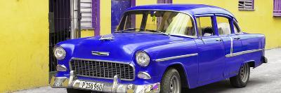 Cuba Fuerte Collection Panoramic - Beautiful Classic American Blue Car-Philippe Hugonnard-Photographic Print