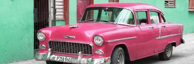 Cuba Fuerte Collection Panoramic - Beautiful Classic American Pink Car-Philippe Hugonnard-Photographic Print