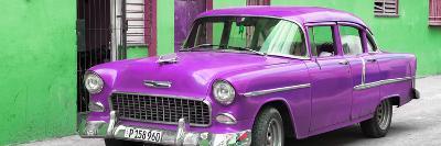 Cuba Fuerte Collection Panoramic - Beautiful Classic American Purple Car-Philippe Hugonnard-Photographic Print