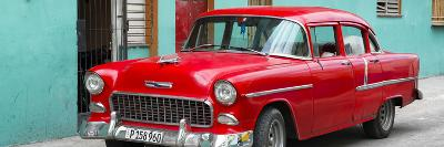 Cuba Fuerte Collection Panoramic - Beautiful Classic American Red Car-Philippe Hugonnard-Photographic Print