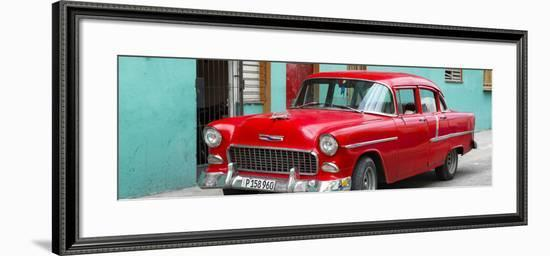 Cuba Fuerte Collection Panoramic - Beautiful Classic American Red Car-Philippe Hugonnard-Framed Photographic Print