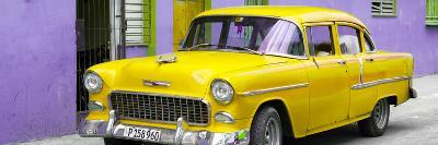 Cuba Fuerte Collection Panoramic - Beautiful Classic American Yellow Car-Philippe Hugonnard-Photographic Print