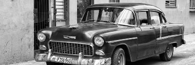 Cuba Fuerte Collection Panoramic BW - Beautiful Classic American Car II-Philippe Hugonnard-Photographic Print