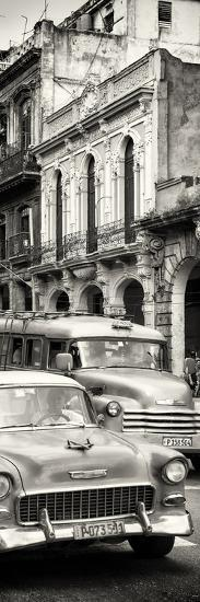 Cuba Fuerte Collection Panoramic BW - Classic Cars in Havana-Philippe Hugonnard-Photographic Print